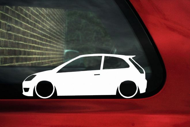 2x LOW Ford Mk6 Fiesta ST , zetec S, Lowered outline stickers / silhouette Decals, ford racing